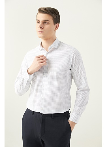 TWN Slim Fit Baskılı Gömlek Beyaz